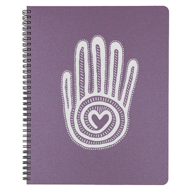 Large Mano y Corazon Spiral Bound Notebook in plum.