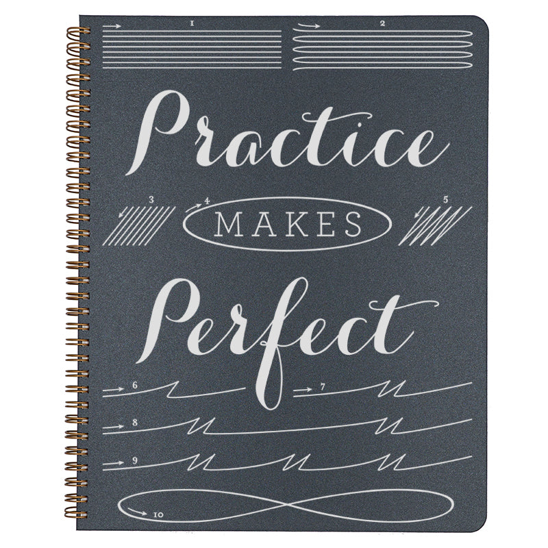 Large Practice Makes Perfect Spiral Bound Notebook in black.