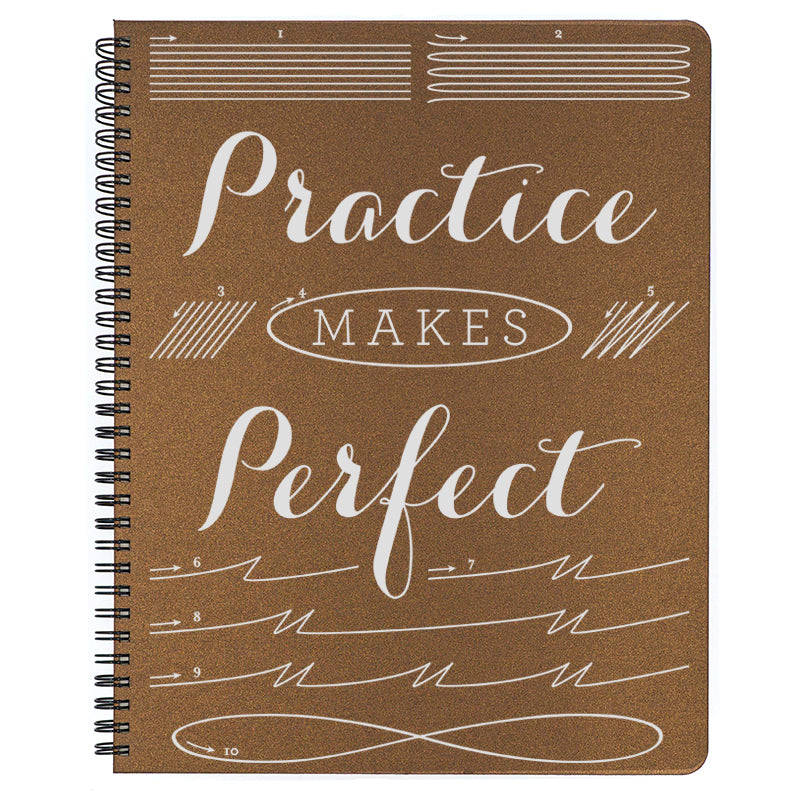 Large Practice Makes Perfect Spiral Bound Notebook in bronze.