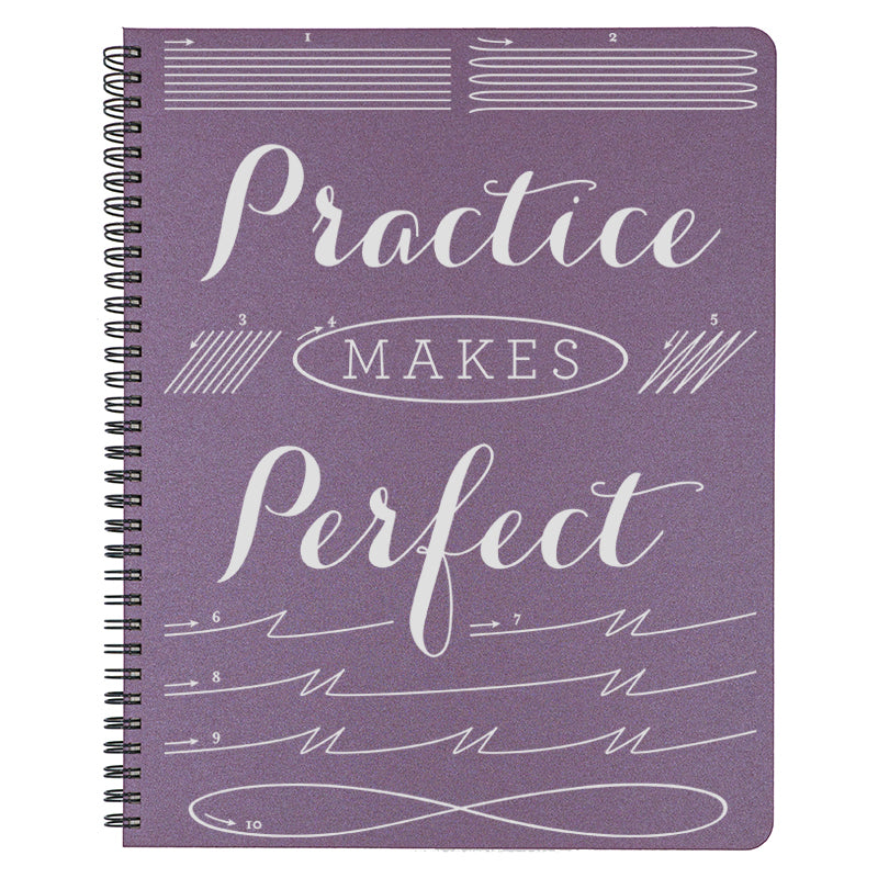 Large Practice Makes Perfect Spiral Bound Notebook in plum.