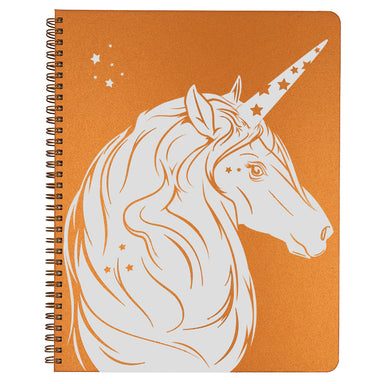 Large Unicorn Spiral Bound Notebook in copper.