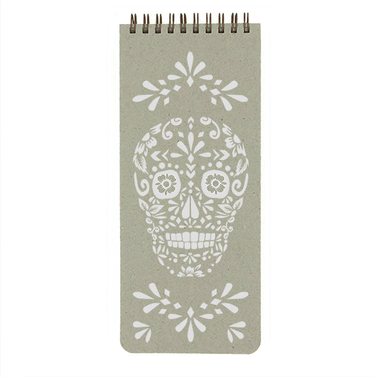 Sugar Skull List Pad by Make My Notebook- hand printed with water-based ink on the color of your choice.  Wire binding lays flat when open or can be folded over for added support.