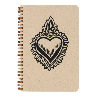 Milagro Flaming Heart notebook cover- Natural cover takes paint, pencil, crayon, and pen equally well.