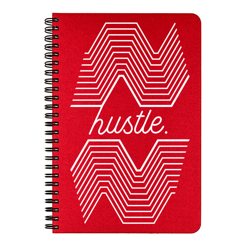 Make My Notebook small Hustle is printed in white ink on a glamorous metallic gold cover, an indigo blue cover, or a ruby red cover.