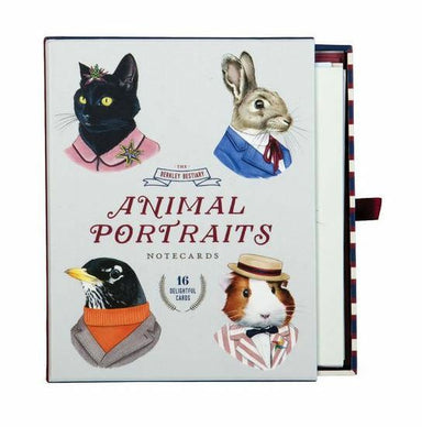 Animal Portraits Notecard set features 16 note cards, four each of four designs and 17 printed envelopes. Add a new twist to greetings and thank you notes with these fun and original designs.