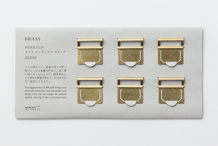 Use the Midori Brass Index Clips to label your Midori Traveler's Notebook or other documents.