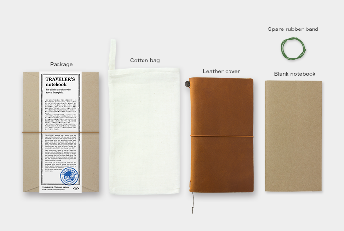 The starter kit comes with a cotton bag, camel leather cover, a blank refill and elastic band. How will you customize your notebook?