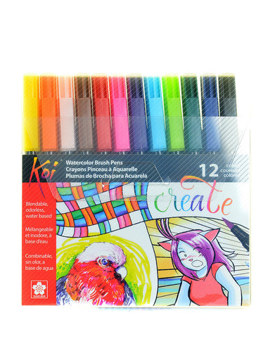 Sakura Koi Coloring Brush Pens- set of 12 colors allow you to take color anywhere.