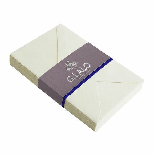 G. Lalo C6 Size Ivory Colored Gummed Envelopes- Pack of 25 (fits A5 size paper)
