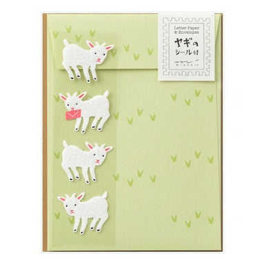 Midori Goat Letter Set with Stickers- 4 sheets of paper measuring approximately 4 by 5 1/2 inches, along with four envelopes and goat stickers .