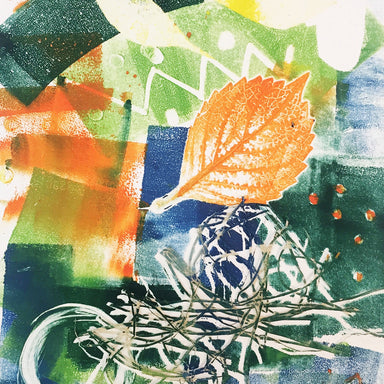 Monotypes - Shape and Line printing example with natural materials