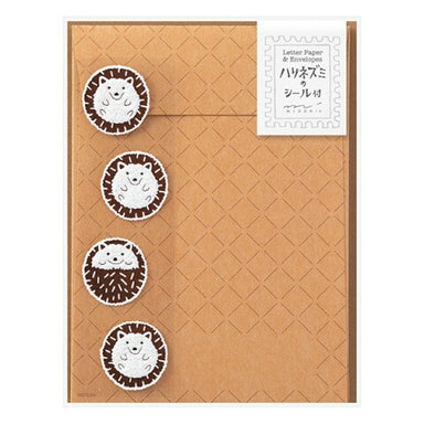 Midori Hedgehog Letter Set with Stickers- 4 sheets of paper measuring approximately 4 by 5 1/2 inches, along with four envelopes and hedgehog  stickers .