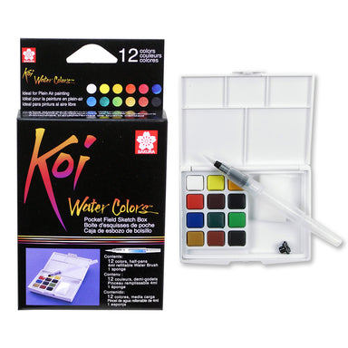 Sakura Koi Watercolor Pocket Field Sketch Travel Kit- 12 Half Pans and Waterbrush Pen