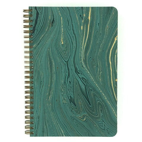 Teal Marbled Make My Notebook spiral bound notebook.  The paper is made from eco-friendly jute fibers then mounted onto our sturdy notebook covers for strength and support.