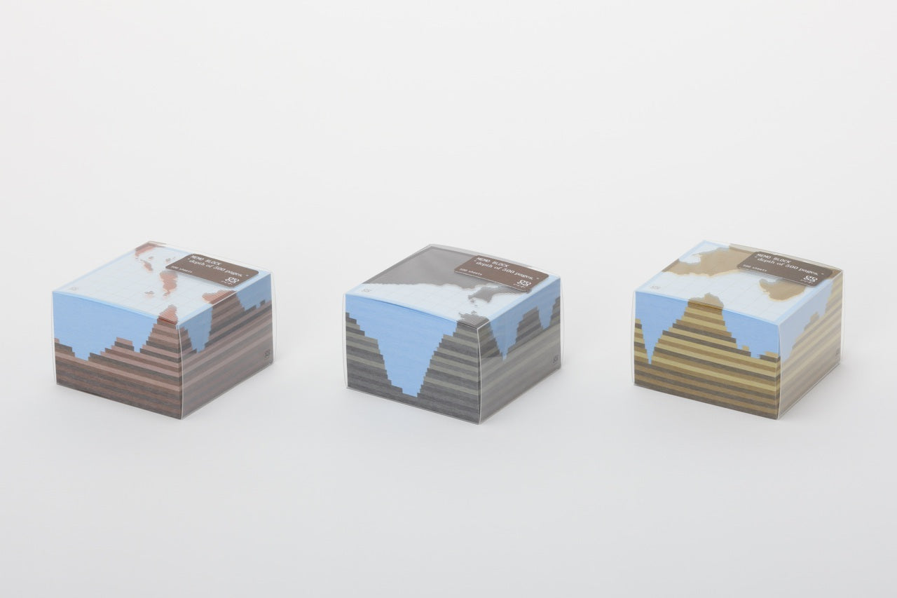 The Depth of 500 Pages Memo Block features decorations that look like a slice of the earth.