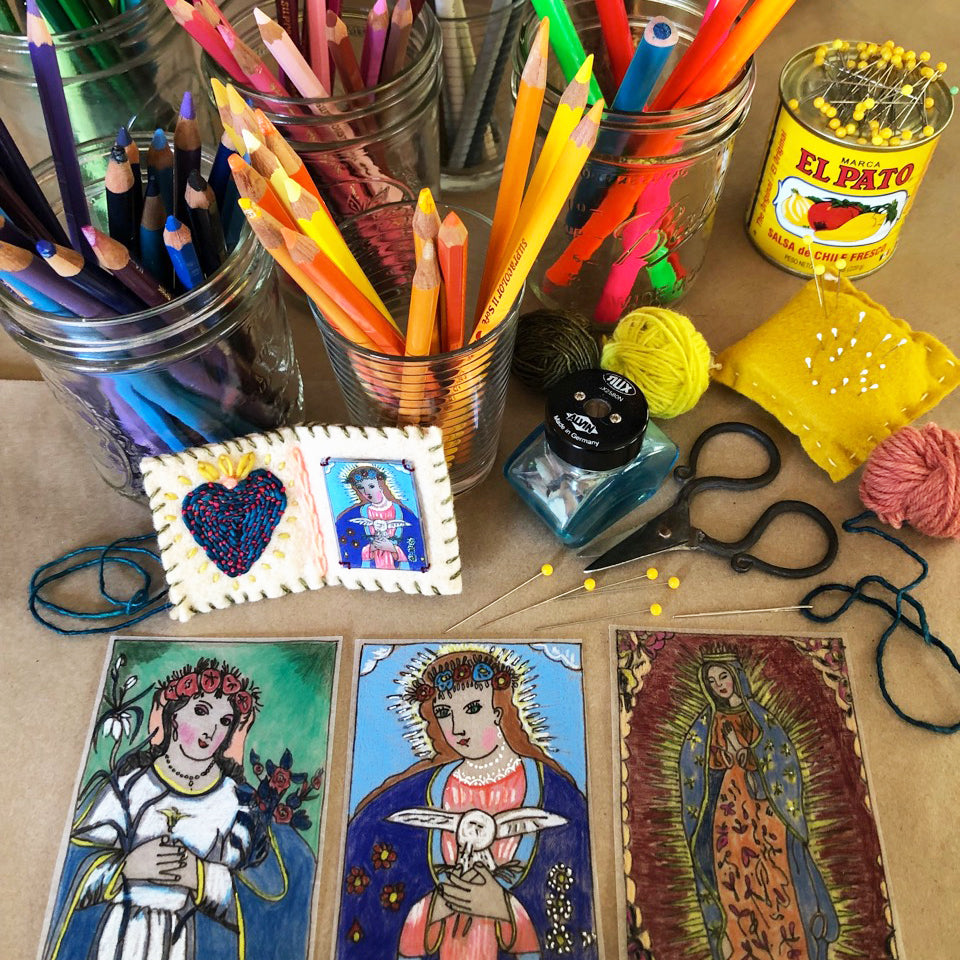 Hand Stitched Pocket Altar Class sample with art materials