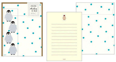 Midori Penguin Letter Set with Stickers- 4 sheets of paper measuring approximately 4 by 5 1/2 inches, along with four envelopes and penguin stickers .