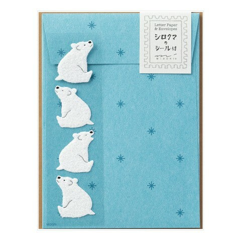 Midori Polar Bear Letter Set with Stickers- 4 sheets of paper measuring approximately 4 by 5 1/2 inches, along with four envelopes and polar bear stickers .