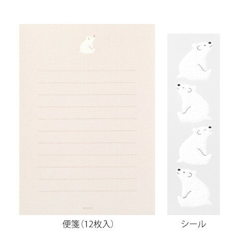 Midori Polar Bear Letter Set with Stickers- set of 4