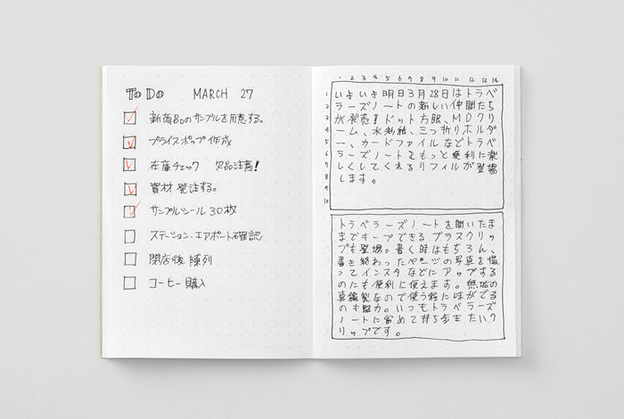 The Midori Traveler's Notebook Dot Grid refill has a 5 by 5 mm grid pattern.