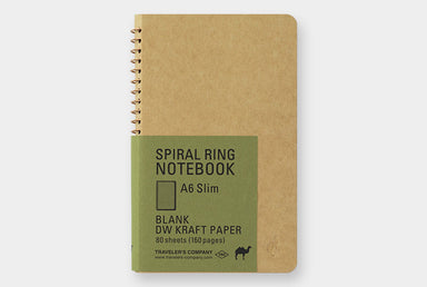 Midori Spiral Ring Notebook- Kraft Paper Vertical A6 Slim- Camel-.
