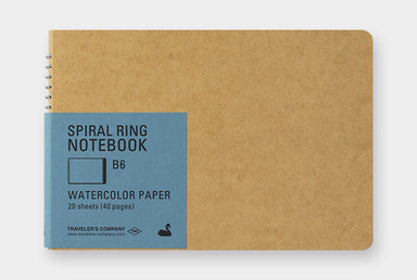 Midori Spiral Ring Notebook- Watercolor Paper, Horizontal orientation in B6 size. The cover is heavy kraft stock, ready for your personal embellishments.