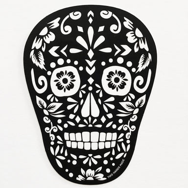 Two Hands Made- Black Sugar Skull Vinyl Sticker.  Keep Dia de Los Muertos alive all year long with this sticker.