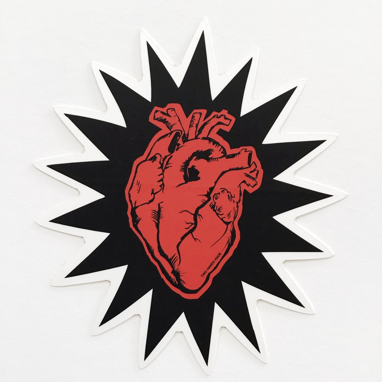 Two Hands Made- Heartbeat Vinyl Sticker is another of our favorites. We love hearts and hands.