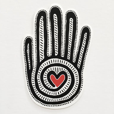 "Two Hands Made- Mano y Corazon sticker, one of our own ""Two Hands"". This sticker is our favorite- of course!"