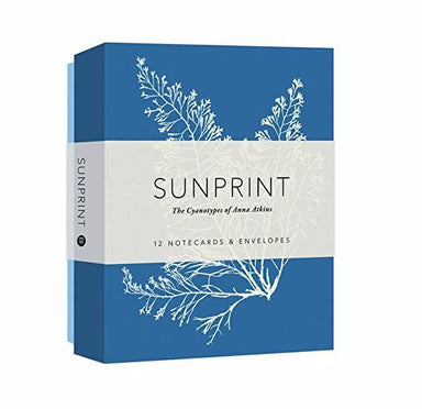 Sunprint Notecard set contains 12 folded notecards and envelopes. Twelve different all-occasion notecards, reproductions of vintage cyanotypes by Victorian botanist Anna Atkins.