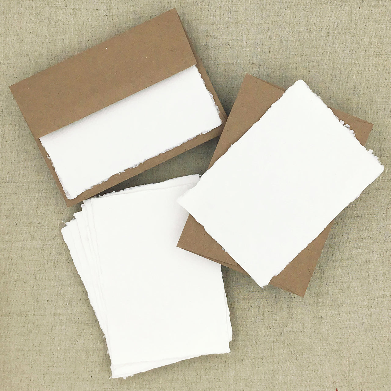 Two Hands Paperie Recycled Stationery- 8 Pack- White