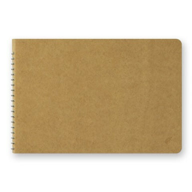 Traveler's Company spiral bound B6 notebook with blank white MD paper has a heavy kraft cover ready for your decorations!