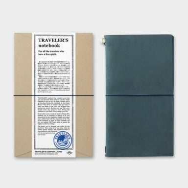 Midori Traveler's Notebook Starter Kit- Regular Size- Blue adds another dimension of color to your favorite customizable notebook.