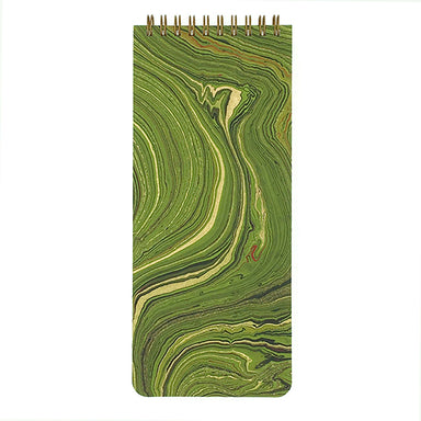This List Pad Marbled Green cover has gold, black, and red accents. Each cover pattern is very unique- the paper is handmade, and then the marbling is done by hand.