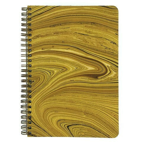 Yellow Marbled Make My Notebook spiral bound notebook using Fair Trade Certified, handmade marbled paper made by a rural women's cooperative in Bangladesh.