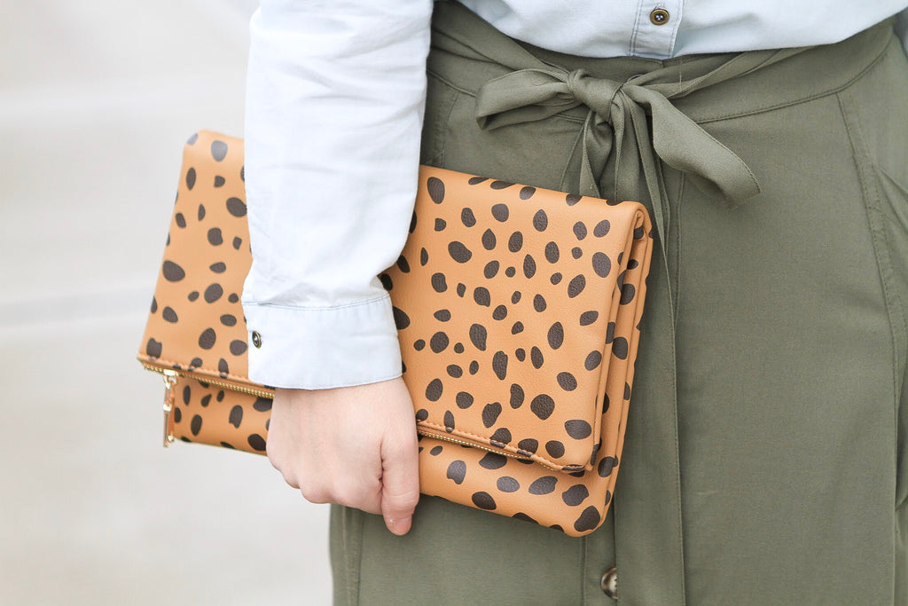 Faux Leather Leopard Clutch