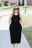 Brunchin' It Midi Dress (Solid Black)
