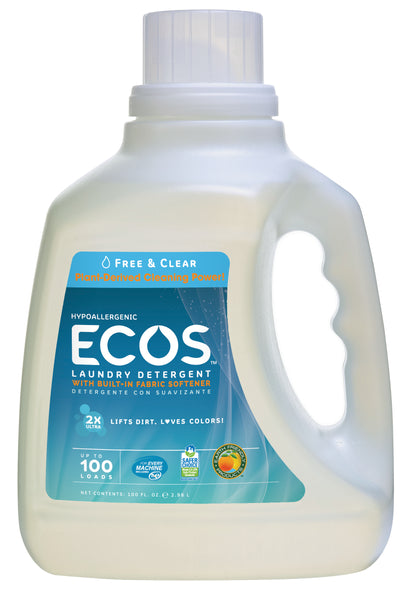 Earth Friendly Ecos Free & Clear Ultra Liquid Detergent (4x100 Oz)