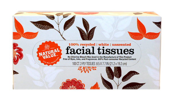 Natural Value Facial Tissues 2-Ply Unscented (30x100 CT)
