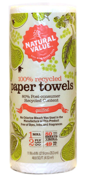 Natural Value 100% Recycled Paper Towels By The Roll (30x80CNT )