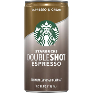 Starbucks Double Shot Premium Espresso Beverage Espresso and Cream 6.5 Fl Oz Can