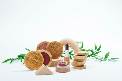 elate bamboo compacts with leaves behind