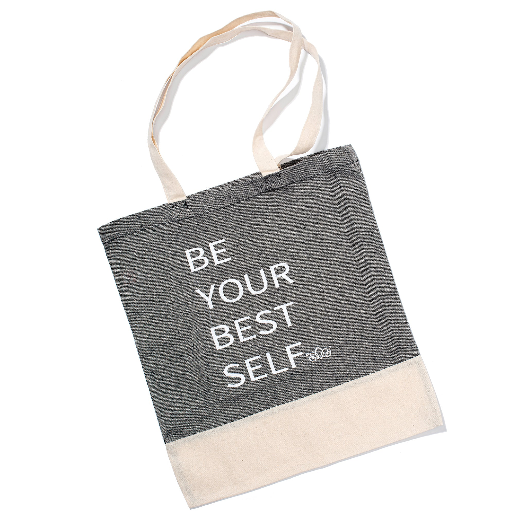Elate Cosmetics reusable recycled cotton gray and white Tote Bag for low waste vegan  lifestyle.