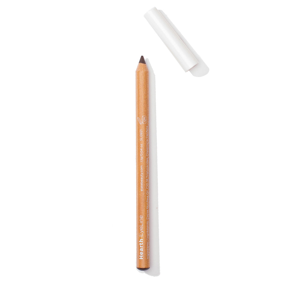 Elate Cosmetics, a low-waste and sustainable eye pencils for clean beauty vegan lifestyle. Dark natural neutral brown matte finish. Recycled Wood and biodegradable lid.
