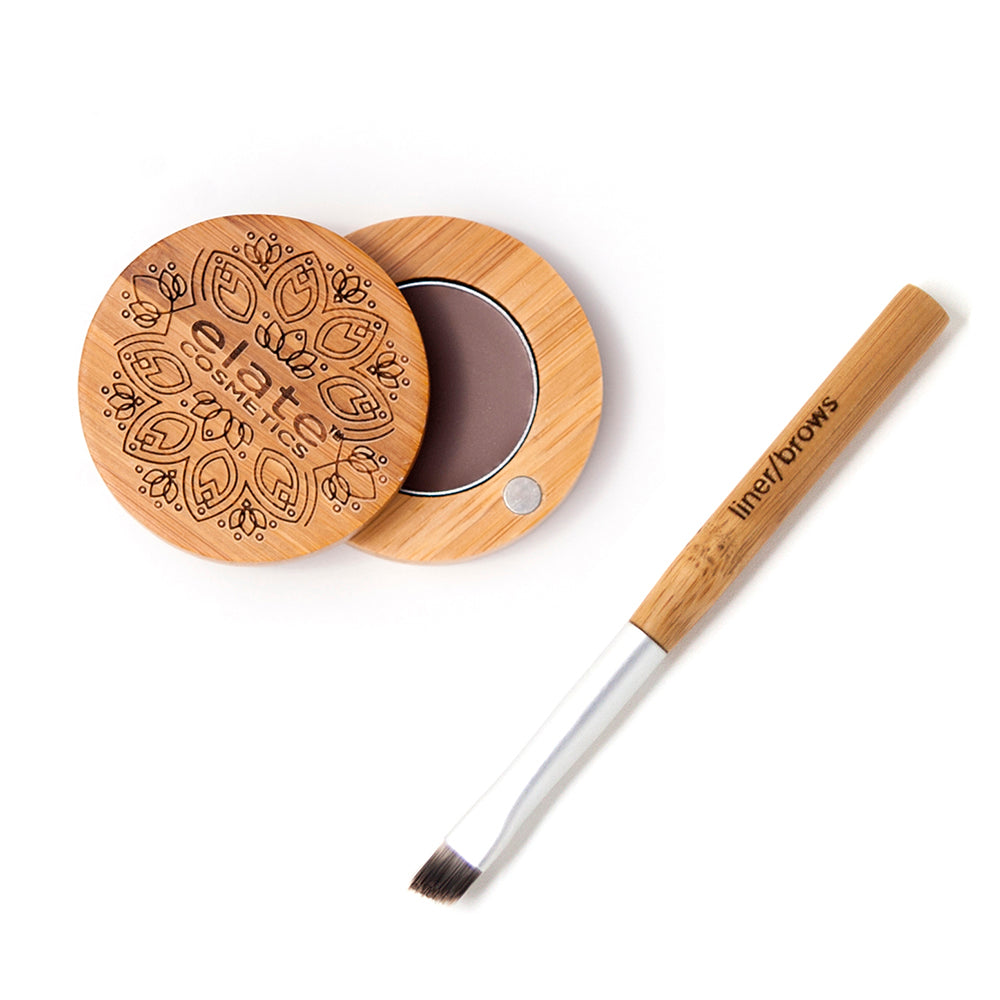 elate cosmetics vegan cruelty free low waste clean beauty light ash brown brow balm. Sustainable eco friendly and recyclable bamboo compact with travel liner brush.