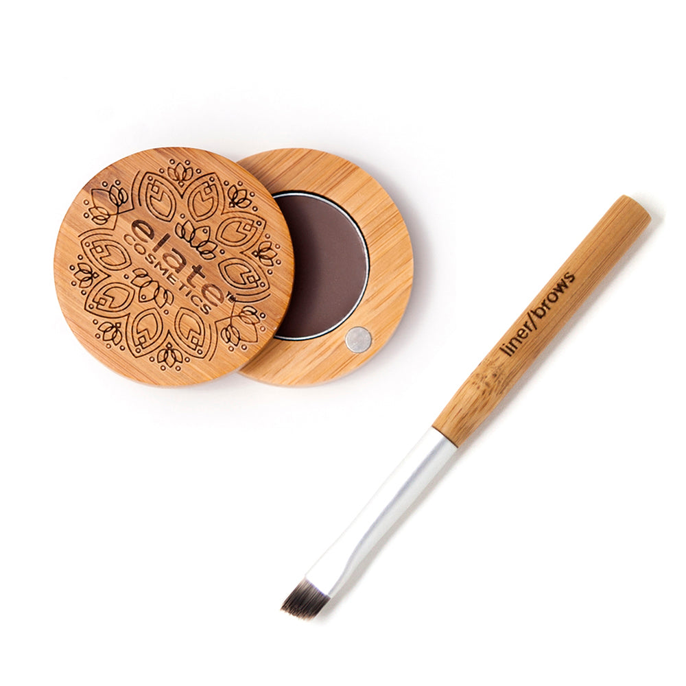 elate cosmetics vegan cruelty free low waste clean beauty smoke brown brow balm. Sustainable eco friendly and recyclable bamboo compact with travel liner brush.