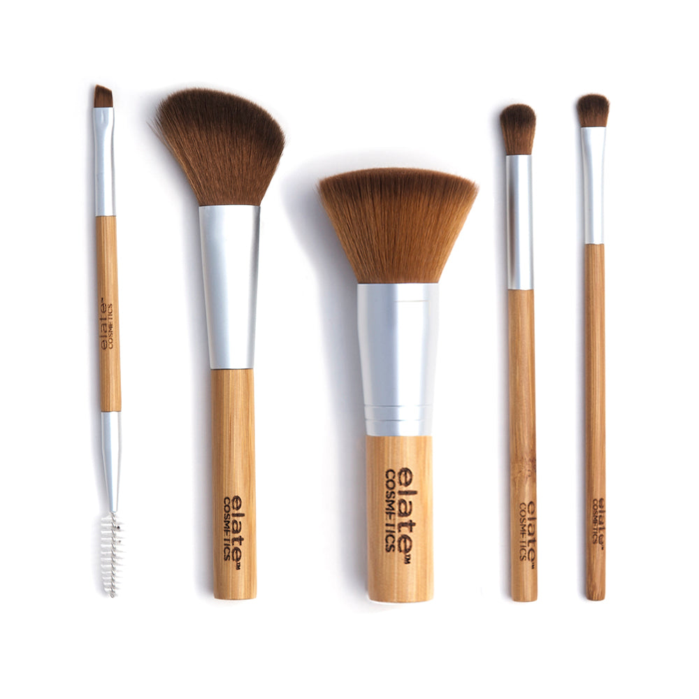 elate cosmetics sustainable, vegan and cruelty-free bamboo brush makeup set for clean waste-free makeup