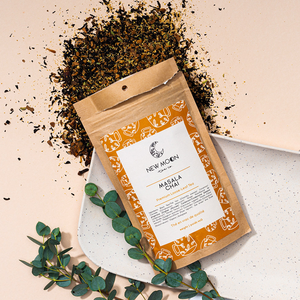 Elate Ethical Marketplace New Moon Organic Loose Leaf tea as part of our holiday christmas collection. Masala Chai Tea is a warm spiced tea that comes in a recycled kraft paper pouch.