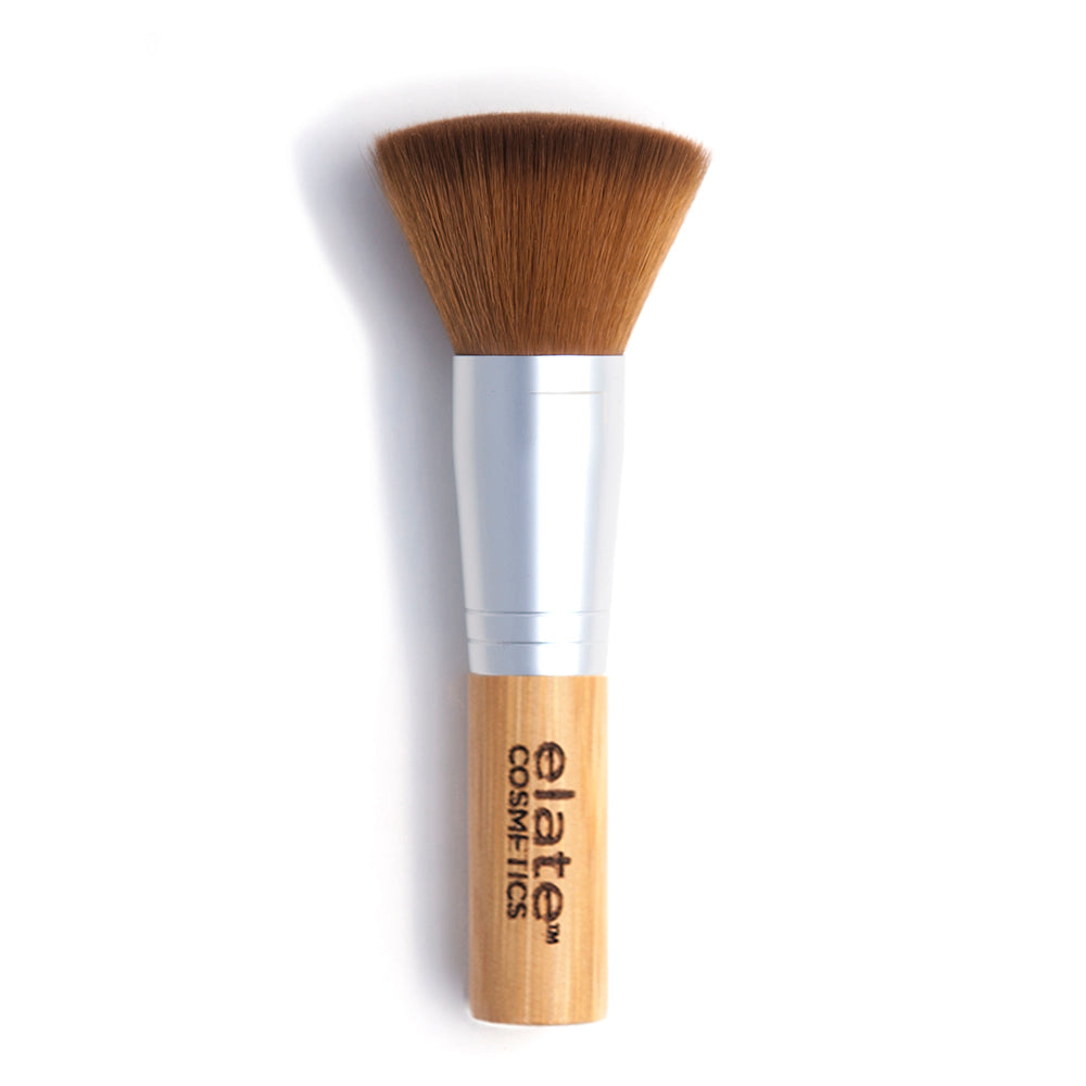 elate cosmetics sustainable, cruelty-free and vegan bamboo multi-use make up brush for clean beauty routine. For applying foundation, blush, powder, bronzer and highlighter.