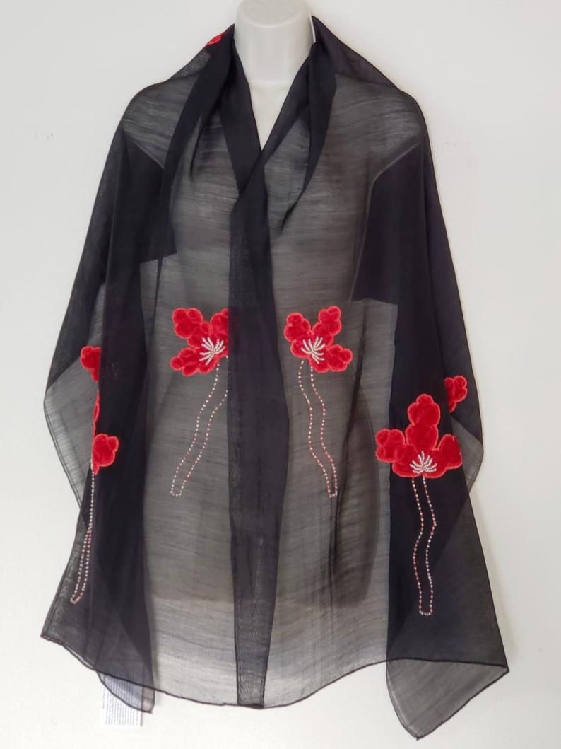 Festive Butterfly in Black Silk Wool Fleets with Red Flowers